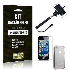 Kit Bastão Selfie Iphone 5g/5 se Película de Vidro + Capa Tpu + Bastão Selfie -ArmyShield