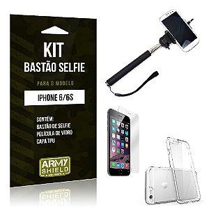 Kit Bastão Selfie Iphone 6/ 6S Película de Vidro + Capa Tpu + Bastão Selfie -ArmyShield