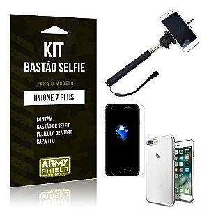 Kit Bastão Selfie Iphone 7 plus Película de Vidro + Capa Tpu + Bastão Selfie -ArmyShield