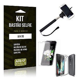 Kit Bastão Selfie Lg k10 Película de Vidro + Capa Tpu + Bastão Selfie -ArmyShield