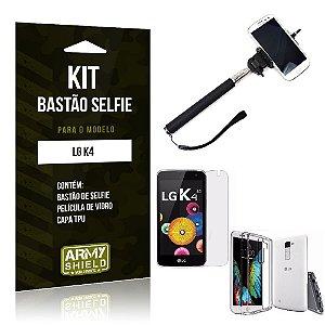 Kit Bastão Selfie Lg k4 Película de Vidro + Capa Tpu + Bastão Selfie -ArmyShield