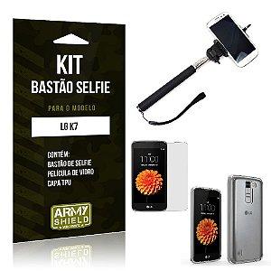 Kit Bastão Selfie Lg k7 Película de Vidro + Capa Tpu + Bastão Selfie -ArmyShield