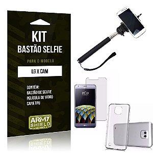 Kit Bastão Selfie Lg x cam Película de Vidro + Capa Tpu + Bastão Selfie -ArmyShield