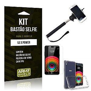 Kit Bastão Selfie Lg x power Película de Vidro + Capa Tpu + Bastão Selfie -ArmyShield