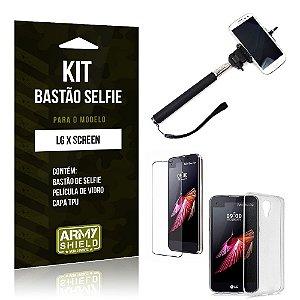 Kit Bastão Selfie Lg x screen Película de Vidro + Capa Tpu + Bastão Selfie -ArmyShield