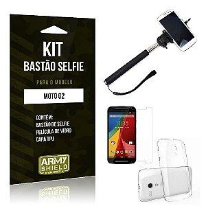 Kit Bastão Selfie Motorola moto g2 Película de Vidro + Capa Tpu + Bastão Selfie -ArmyShield