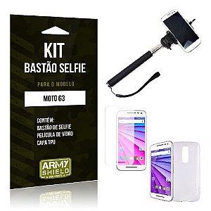 Kit Bastão Selfie Motorola moto g3 Película de Vidro + Capa Tpu + Bastão Selfie -ArmyShield