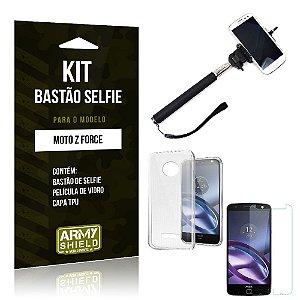 Kit Bastão Selfie Motorola moto z force Película de Vidro + Capa Tpu + Bastão Selfie -ArmyShield