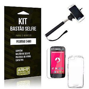 Kit Bastão Selfie Positivo s480 Película de Vidro + Capa Tpu + Bastão Selfie -ArmyShield