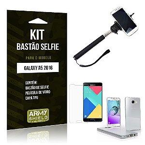 Kit Bastão Selfie Samsung a5 II Película de Vidro + Capa Tpu + Bastão Selfie -ArmyShield
