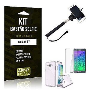 Kit Bastão Selfie Samsung a7 Película de Vidro + Capa Tpu + Bastão Selfie -ArmyShield