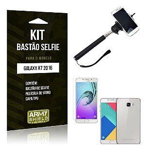Kit Bastão Selfie Samsung a7 II Película de Vidro + Capa Tpu + Bastão Selfie -ArmyShield