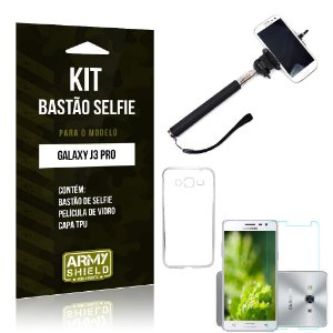 Kit Bastão Selfie Samsung galaxy j3 pro Película de Vidro + Capa Tpu + Bastão Selfie -ArmyShield