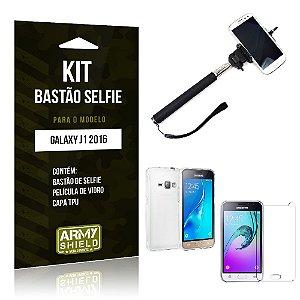 Kit Bastão Selfie Samsung j1 2016 Película de Vidro + Capa Tpu + Bastão Selfie -ArmyShield