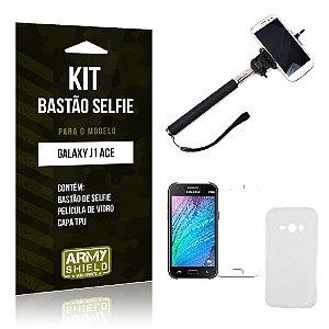 Kit Bastão Selfie Samsung j1 ace Película de Vidro + Capa Tpu + Bastão Selfie -ArmyShield