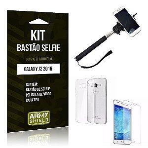 Kit Bastão Selfie Samsung J2 II 2016 Película de Vidro + Capa Tpu + Bastão Selfie -ArmyShield
