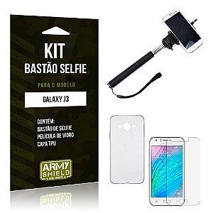Kit Bastão Selfie Samsung j3 2015 Película de Vidro + Capa Tpu + Bastão Selfie -ArmyShield