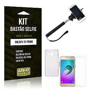 Kit Bastão Selfie Samsung j3 prime Película de Vidro + Capa Tpu + Bastão Selfie -ArmyShield