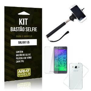 Kit Bastão Selfie Samsung j5 Película de Vidro + Capa Tpu + Bastão Selfie -ArmyShield
