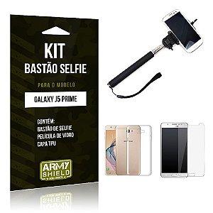 Kit Bastão Selfie Samsung j5 prime Película de Vidro + Capa Tpu + Bastão Selfie -ArmyShield