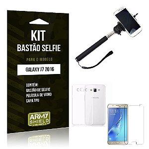 Kit Bastão Selfie Samsung J7 II 2016 Película de Vidro + Capa Tpu + Bastão Selfie -ArmyShield