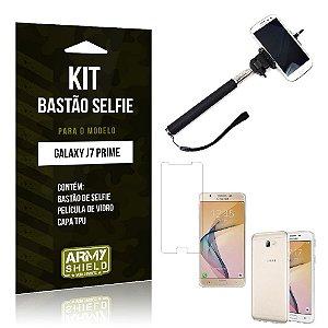 Kit Bastão Selfie Samsung j7 prime Película de Vidro + Capa Tpu + Bastão Selfie -ArmyShield