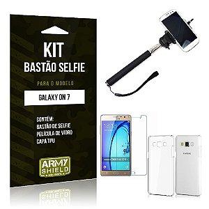 Kit Bastão Selfie Samsung on 7 Película de Vidro + Capa Tpu + Bastão Selfie -ArmyShield