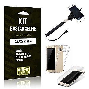 Kit Bastão Selfie Samsung s7 edge Película de Vidro + Capa Tpu + Bastão Selfie -ArmyShield