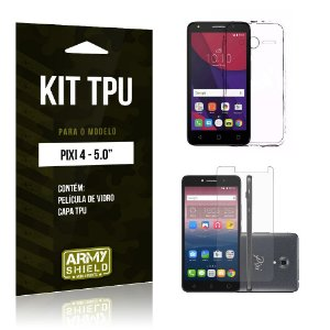 Kit Tpu Alcatel pixi 4/5.0 Película de Vidro + Capa Tpu transparente -ArmyShield