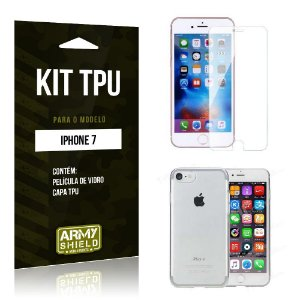 Kit Tpu Iphone 7 Película de Vidro + Capa Tpu transparente -ArmyShield