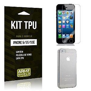 Kit Tpu Iphone 5g/5 se Película de Vidro + Capa Tpu transparente -ArmyShield