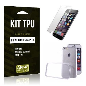 Kit Tpu Iphone 6 plus / 6S Plus Película de Vidro + Capa Tpu transparente -ArmyShield