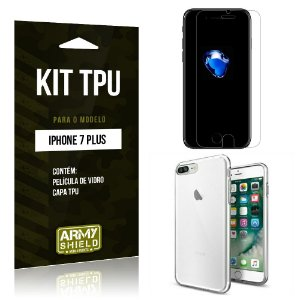 Kit Tpu Iphone 7 plus Película de Vidro + Capa Tpu transparente -ArmyShield