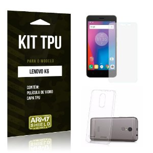 Kit Tpu Lenovo k6 Película de Vidro + Capa Tpu transparente -ArmyShield