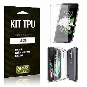 Kit Tpu Lg k10 Película de Vidro + Capa Tpu transparente -ArmyShield