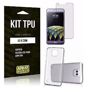 Kit Tpu Lg x cam Película de Vidro + Capa Tpu transparente -ArmyShield