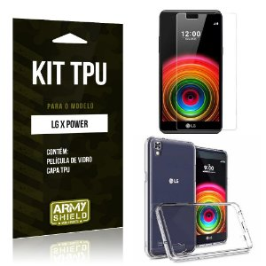 Kit Tpu Lg x power Película de Vidro + Capa Tpu transparente -ArmyShield