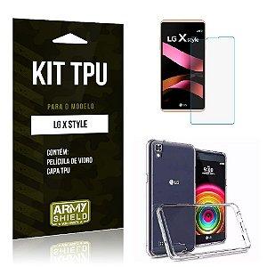 Kit Tpu Lg x style Película de Vidro + Capa Tpu transparente -ArmyShield