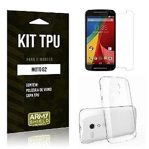 Kit Tpu Motorola moto g2 Película de Vidro + Capa Tpu transparente -ArmyShield