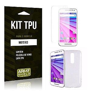 Kit Tpu Motorola moto g3 Película de Vidro + Capa Tpu transparente -ArmyShield