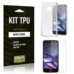 Kit Tpu Motorola moto z force Película de Vidro + Capa Tpu transparente -ArmyShield