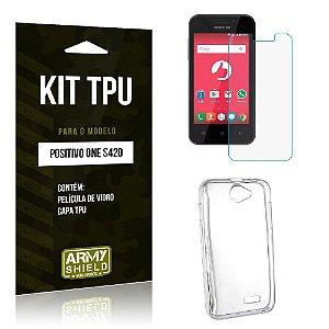 Kit Tpu Positivo s420 Película de Vidro + Capa Tpu transparente -ArmyShield