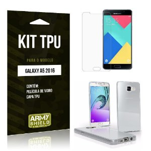 Kit Tpu Samsung a5 II Película de Vidro + Capa Tpu transparente -ArmyShield