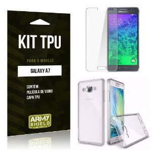Kit Tpu Samsung a7 Película de Vidro + Capa Tpu transparente -ArmyShield