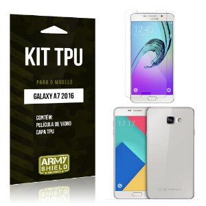Kit Tpu Samsung a7 II Película de Vidro + Capa Tpu transparente -ArmyShield