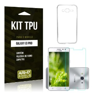 Kit Tpu Samsung galaxy j3 pro Película de Vidro + Capa Tpu transparente -ArmyShield