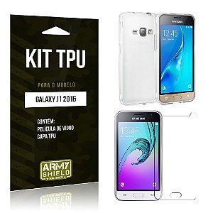 Kit Tpu Samsung j1 2016 Película de Vidro + Capa Tpu transparente -ArmyShield