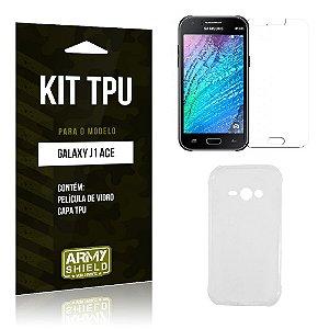 Kit Tpu Samsung j1 ace Película de Vidro + Capa Tpu transparente -ArmyShield