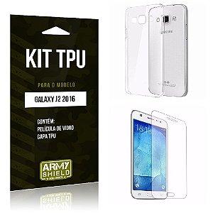 Kit Tpu Samsung J2 II 2016 Película de Vidro + Capa Tpu transparente -ArmyShield