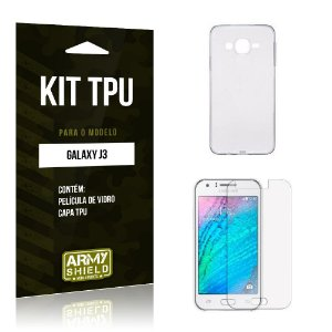 Kit Tpu Samsung j3 2015 Película de Vidro + Capa Tpu transparente -ArmyShield